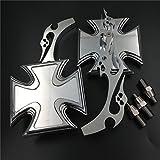 Motorrad verchromtem Billet Custom Running Acryl Spiegel für Harley Dyna Wide Glide Malteser Kreuz Emblem Flamme Stil von HTT