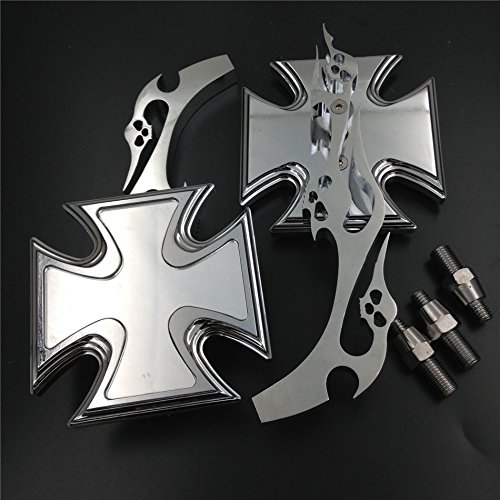 Motorrad verchromtem Billet Custom Running Acryl Spiegel für Harley Dyna Wide Glide Malteser Kreuz Emblem Flamme Stil von HTT (Flamme Motorrad Spiegel)