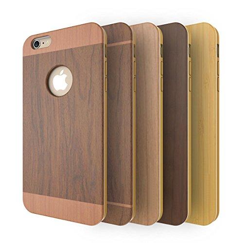 Fiona Housses et Coques, Hard Case Cover pouriPhone 6s Plus,iPhone 6 Plus(5.5 Inch)Housses et Coques, Hard Case Cover pour- Premium-montage en bambou / bois couverture, TPU environnement caoutchouc et Wood