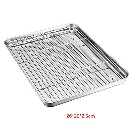 Aluminium Cookie Pan Tray mit 304 Edelstahl Kühlung, Backen & Braten Drahtgitter Set-26 * 20 * 2,5 cm / 31 * 24 * 2,5 cm Heavy Duty Qualität, Widder sicher