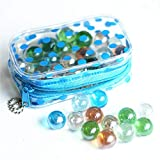 the GreatTony Marbles for Kids, Glass Marbles, Planetary Marbles, 16mm 50 Clear Marbles with Polka Dot Bag with Zipps, Best for Kids