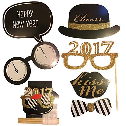 new-year-prop-set-8-teilig-foto-booth-selfie-prop-schnurrbart-auf-einem-stick-kiss-me-prop