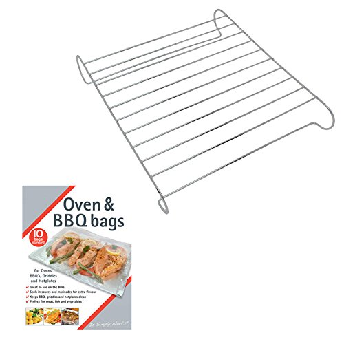 SPARES2GO Universal Oven Cooker Pizza Stand / Cake Cooling Rack + 10 Large BBQ Grill Bags