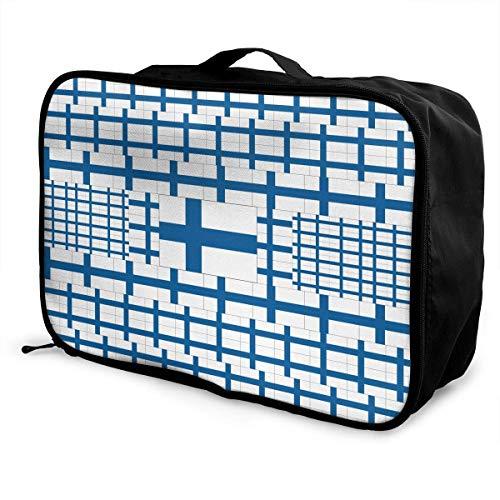 Qurbet Reisetaschen,Reisetasche, Portable Luggage Duffel Bag Finland Flag Travel Bags Carry-on in Trolley Handle -