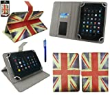 Emartbuy® AlpenTab Heidi 7 Zoll Tablet PC Universalbereich Union Jack Multi Winkel Folio Executive Case Cover Wallet Hülle Schutzhülle mit Kartensteckplätze + Blau Eingabestift