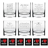YaYa Cafe Whiskeys Health Benefits Engraved Whiskey Glass Set Of 6 With Quotes - Stelvio 325 Ml