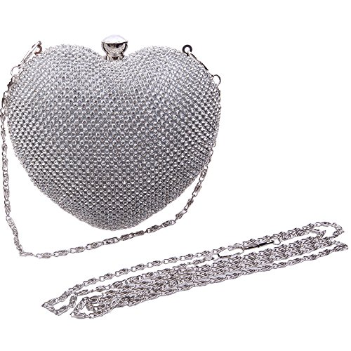 Bonjanvye Heart Shape Diamond Clutch Bag for Ladies Trendy Evening Cluthes Purse Silver