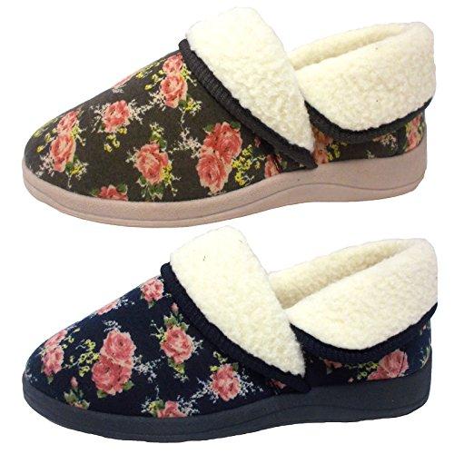 Donna Dunlop Faye Stampa Floreale Falsa Pelliccia Pantofole Color Moca