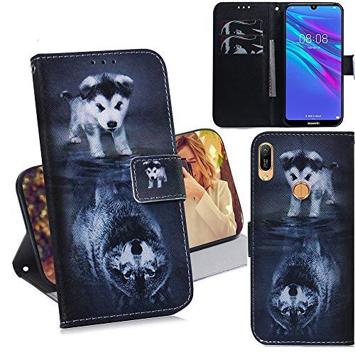 DodoBuy Huawei Y6 2019/Honor 8A Hülle Flip PU Leder Schutzhülle Handy Tasche Case Cover Wallet Standfunktion mit Kartenfächer Magnetverschluss für Huawei Y6 2019/Honor 8A - H& Wolf