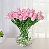 Tulipani Artificiali, Meiwo 10 Pcs Real Touch Latex Fiori di Tulipani Artificiali in Vasi Per i bouquet di nozze / Decorazione Casa / partito / Graves Arrangiamento(Rosa)