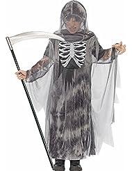 Geister Ghul Kostüm für Kinder - Gruseliges Halloween Kostüm bestehend aus Robe mit Kapuze und Brustdruck