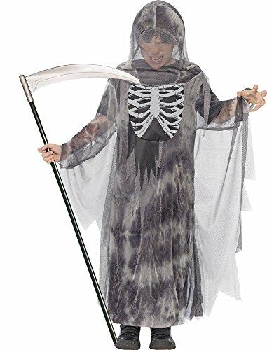 Geister Ghul Kostüm für Kinder Gr. T (13+ Jahre) - Gruseliges Halloween Kostüm bestehend aus Robe mit Kapuze und Brustdruck (Robe Kapuzen-horror)