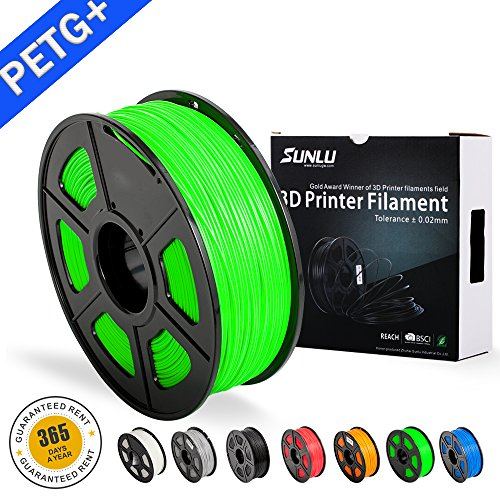 PETG 3D filament SUNLU 1.75mm 1KG(2.2lb), PETG 3D Printer Filament, Dimensional Accuracy +/- 0.02 mm, 1 kg Spool, 1.75 mm, Green PETG+ Brand: SUNLU -