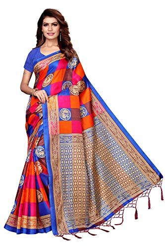 Indian Women's Art Silk Kalamkari and Bhagalpuri Style Sari with Blouse Piece Checks MOR Blue