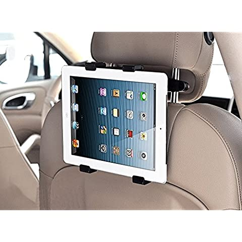 Soporte tablet coche reposacabezas rotación 360º ajustable diferentes tamaños, soporte de coche universal para tablet, soporte universal para tablet, soporte de coche para reposacabezas, permite un montaje seguro y rápido a cualquier reposacabezas para iPad 2/3/4/ , Ipad Air, Ipad Mini, Galaxy Tab/Tab S/Note Pro, Nexus 7, Kindle Fire HD 6/7 Fire HDX 7/8.9 Fire 2,etc. Universal para tablets hasta 14