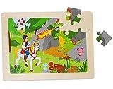 Unbekannt Rahmenpuzzle aus Holz - 24 Teile - Ritter mit Pferd u. Drache / Dornröschen - große Holzpuzzle - Motorikspiel - Motorik - Steckpuzzle Puzzle - für Kinder / Mä..
