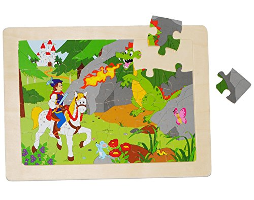 Unbekannt Rahmenpuzzle aus Holz - 24 Teile - Ritter mit Pferd u. Drache / Dornröschen - große Holzpuzzle - Motorikspiel - Motorik - Steckpuzzle Puzzle - für Kinder / Mä.. - Dornröschen Drache