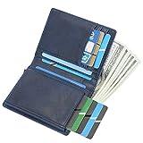 RFID Carte de Crédit Titulaire de Automatique Pop-up en Aluminium Blocage Étui 100% Cuir véritable Entreprise Slim Mini Porte-Monnaie (Bleu)