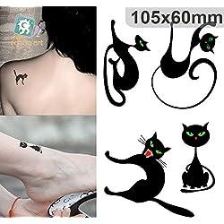 Arte Corporal Pegatinas Tatuaje removibles temporales Gato Negro Pegatina Tatuaje - ModaVida - FashionLife