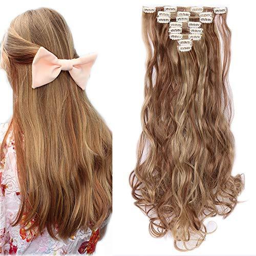 Extension capelli clip 8 fasce mosse sintetiche 60cm full head - 18 clips in estensione a 8 fasce 140g - marrone chiaro mix biondo cenere