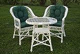Eine Reihe von polnischen Korbmöbel: 3 Sessel + Tisch + Kissen