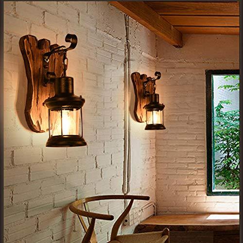 Antike Massivholz (Lampe Wandleuchte Wandlampen Aussenlampe Antike Loft Amerikanische Land Retro Massivholz Laterne Persönlichkeit Kreative Bar Diffuse Café Netzwerk Giebellampe)