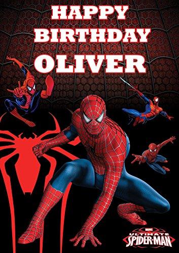 personalisierbar Spiderman Spider Man V1Geburtstag Banner Poster Custom Design groß A01189mm X 841mm (119,4x 83,8cm/118.9cm x 84.1cm) jedes Alter Plus Text können hinzugefügt werden