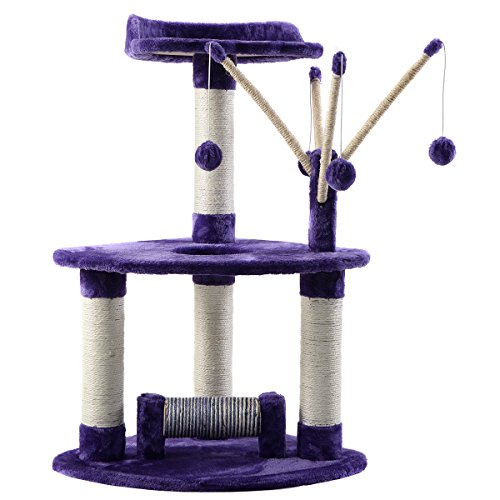 Costway Cat Scratching Post Scratcher Tree Activity Tower Pet Playing Centre (Purple)
