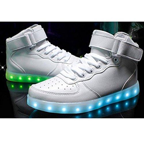 (Present:kleines Handtuch)JUNGLEST® 7 Farbe Wechseln USB aufladen LED-Licht Leuchtend Mode Sportschuhe Freizeitschuhe Outdoorschuhe Laufschuhe Schuhe Sneaker f Weiß