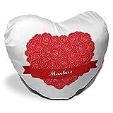 Herzkissen mit Namen Markus und schönem Motiv mit Rosen-Herz zum Valentinstag - Herzkissen personalisiert Kuschelkissen Schmusekissen