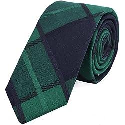 DonDon Corbata de cuadros de algodón para hombres de 6 cm - verde azul