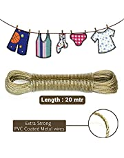 Aloud Creations 20-Meter PVC Coated Steel Anti-Rust Wire Rope Washing Line Clothesline with 2 Plastic Hooks (Multi Colour)