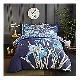 CSYPYLE Bettwäsche Set Heimtextilien Chinesischen Stil Pflanze Blume Schmetterling Muster Weiche Bequeme Bettbezug Bettlaken Bettwäsche Kit, 2,0 Mt