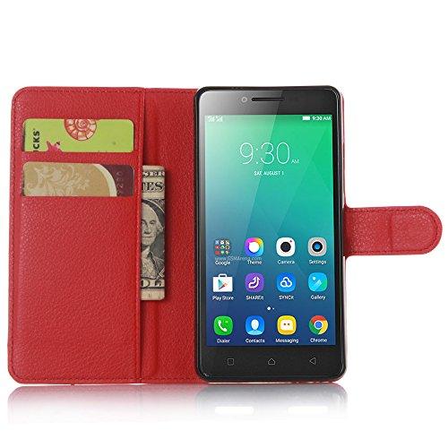 Nadakin Lenovo A6010/A6000 Plus Hülle , Premium Leder Schutzhülle Flip Mappen Kasten Abdeckung,Handyhülle aus Taschenhülle mit Kreditkartenhaltern, Standfunktion, Geldbeutel, Magnetverschluss für Lenovo A6010/A6000 Plus (Rot)