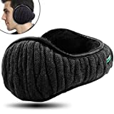 Dimples Excel Unisex Knit Ear Muffs Foldable Ear Warmers Winter Outdoor Earmuffs Size Adjustable (1 Pack/Black)
