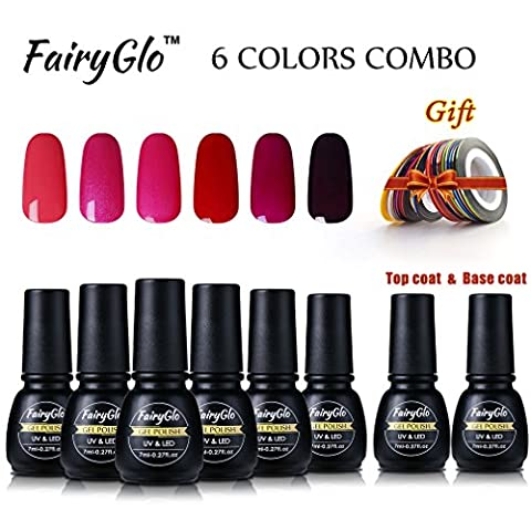 fairyglo 6 PCS Gel Nagellack + Top Base Coat + Color Streifen Tape Rolle Geschenk-Set UV-LED-Soak Off Beauty Maniküre Starter Kit DIY
