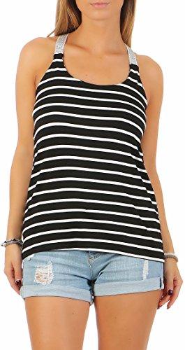 malito top strisce t-shirt senza maniche 1331 Donna Taglia Unica Nero