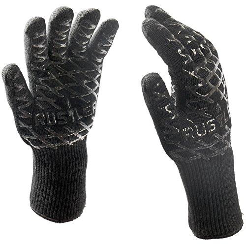 Rustler BBQ Grillhandschuhe Paar in schwarz, Ofenhandschuhe sind hitzebeständig bis zu 350°C, EN 407 zertifiziert, Schutzhandschuhe für Grill, Backofen, Grillbesteck, Kamin und Lagerfeuer