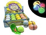 JustRean Toys Leuchtendes Dino-Ei mit Kristallschleim Dinosaurier Figur  | Dinosaurierei mit Kristall Schleim und LED Kugel | Kinder-Geburtstag Mitgebsel Tombola