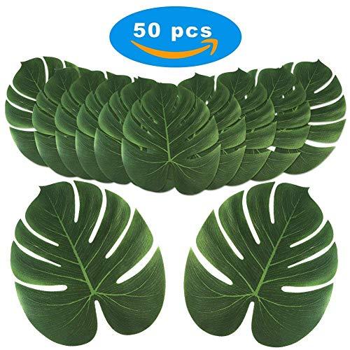 (50 Stücke Tropische Blätter Künstliche Simulation Tropische Palm Monstera Pflanze Verlässt Hawaiian Safari Party Dschungel Strand Thema Geburtstag Partydekorationen)
