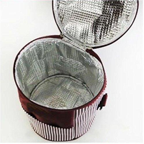 MOXIN Pacchetto di isolamento - Portable Circolare Pranzo Refrigerato Addensato , medium: pretty powder (ice pack) slender paragraph: wine red (send ice bag)