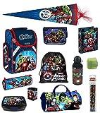 Familando Avengers Schulranzen-Set 15tlg. mit Dose/Flasche Sporttasche Federmappe gefüllt Schultüte 85cm und Regenschutz HULK THOR
