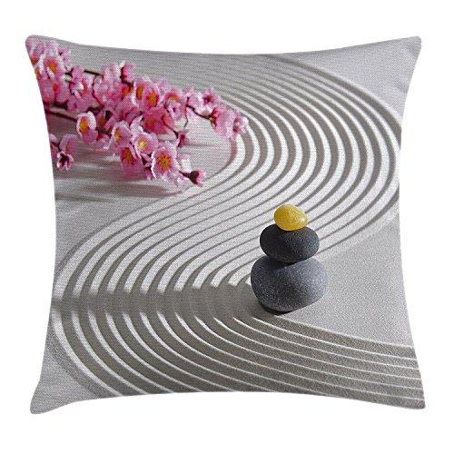 DCOCY Spa Überwurf Kissen Kissenbezug, japanische Zen Steine der Meditation Sand mit Orchideen Relax Yoga Spirit Bild, dekorative quadratisch Accent Kissen Fall, 45,7x 45,7cm, Pearl Pink dimgrey