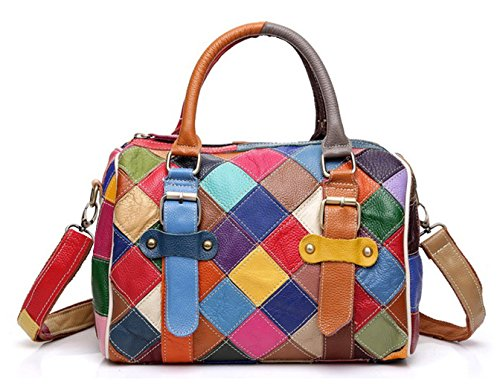 Greeniris Damen Handtaschen Leder Vintage Bunt Plaid Umhängetasche Hobo Schultertasche Totes für Damen Mehrfarbig -