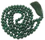 Givereldi pulsera de collar de cuentas de mala ágata verde oscuro 108 cuentas de 6...