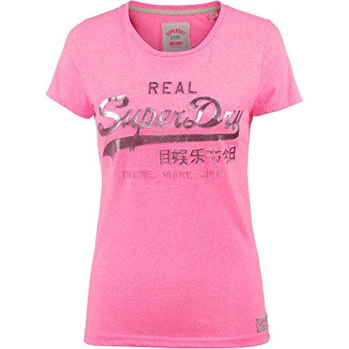 Superdry Damen T-Shirt Vintage Logo Embossed Foil Fluro Pink Snowy, Größe:S (T-shirt Damen-pink Reinigen)