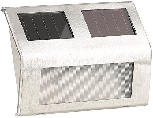 Lunartec Solar-Wandleuchte für den Außenbereich, Edelstahl, 16 lm, 0,24 W