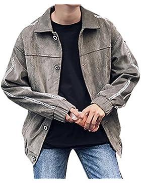 Hombre Chaqueta Levántate Cuello Cazadora Vaquera Con Bolsillos Jacket Suelto Casual Capa Outwear Gris 3XL