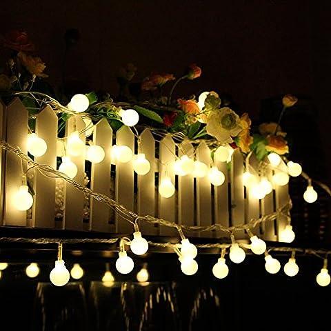 Fuloon - 10M 80 LED Lámpara de energía Solar Guirnalda de luces Forma de Cereza Iluminacion Tira para decoracion hogar jardines, hogares, Navidad, fiestas, bodas, compleaños (Blanco Cálido)