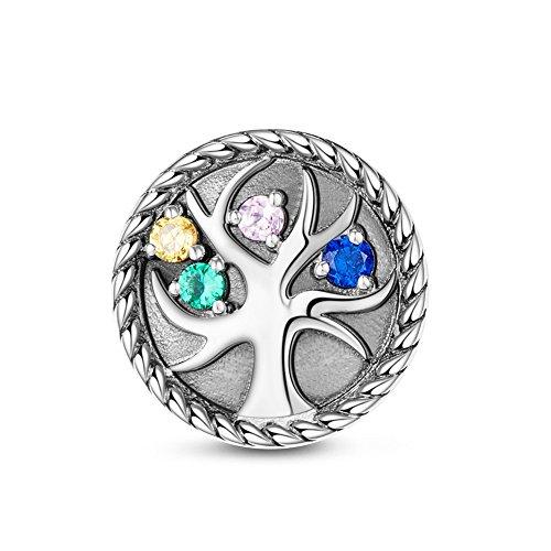 Tinysand 925in argento sterling dell' albero della vita charm pandora con colorato zircone bracciale gioielli